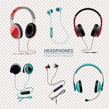 Headphones Realistic Set Transparent
