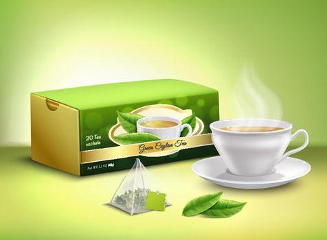 Green Tea Packaging Realistic Design