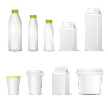 Dairy Packaging Realistic Set