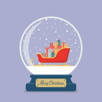 Merry christmas glass ball with Santa sleigh containing a full of presents