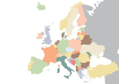 Colorful Europe continent map