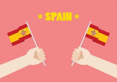 Spain National Day with Hands Holding Up Spain Flags