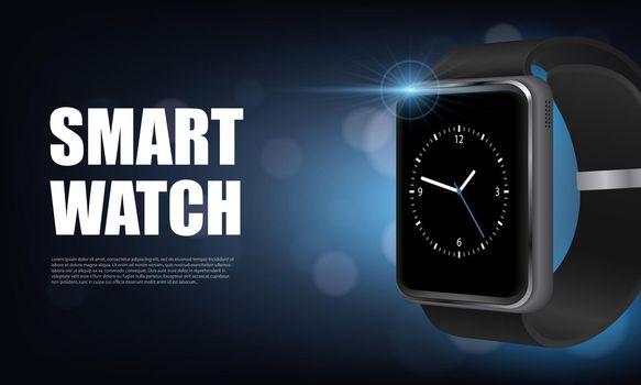 Realistic Smart Watch Horizontal Banner