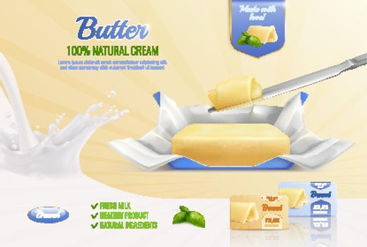 Butter Realistic Advertising Composition