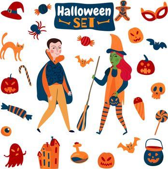 Halloween Accessories Flat Set