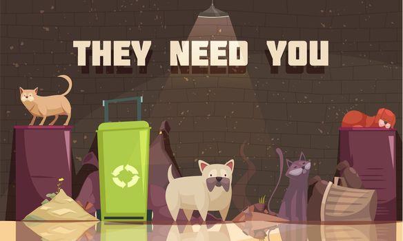 Homeless Animals Flat Poster