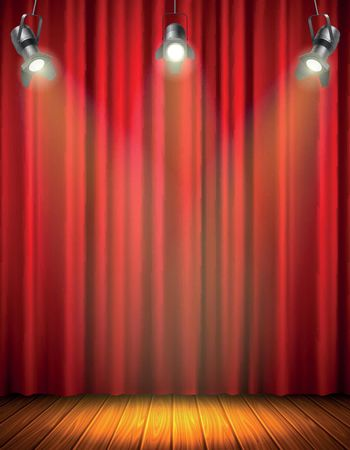 Illuminated Empty Stage With Red Curtain