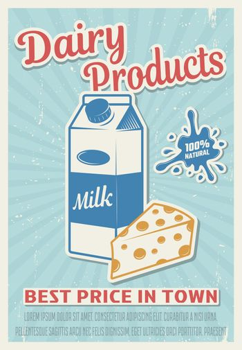 Dairy Products Retro Style Poster