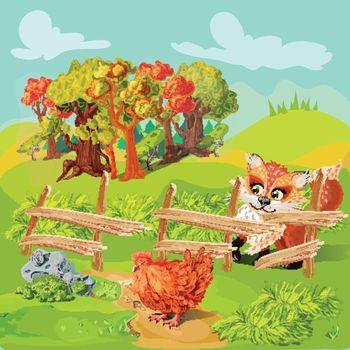 Hunting Fox Farm Composition