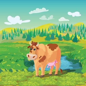 Grazing Cow Cartoon Composition