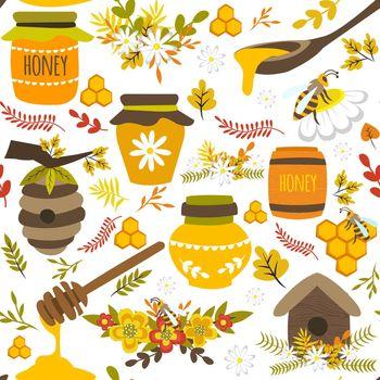 Honey Hand Drawn Seamless Pattern