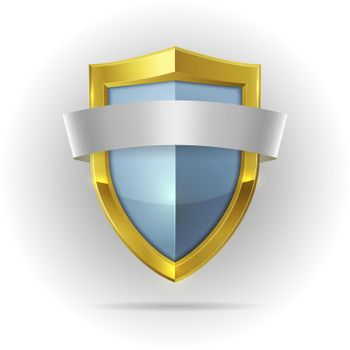 Guard shield with blank ribbon emblem