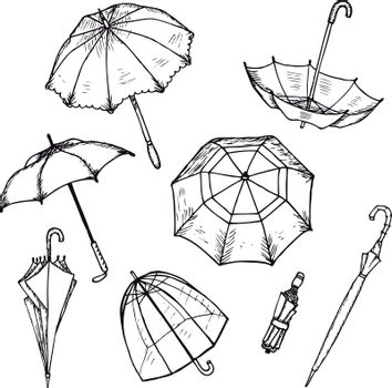 Hand Drawn Umbrellas Set