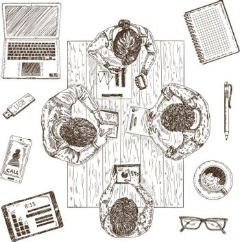 Business Meeting Sketch Concept