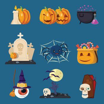 Halloween Characters Cartoon Icons Set