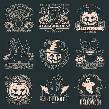Halloween Monochrome Emblems