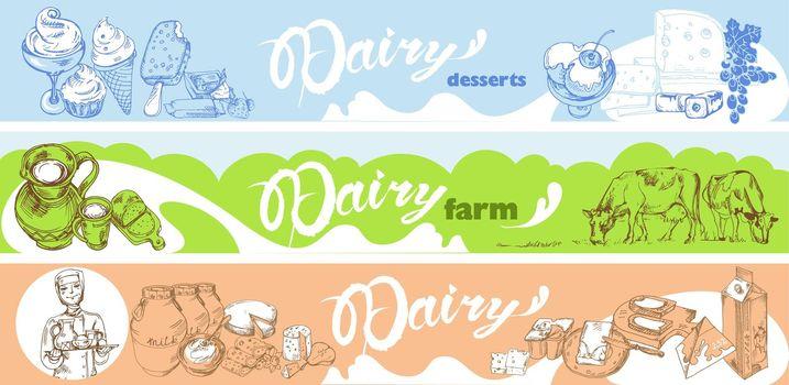Hand Drawn Dairy Horizontal Banners