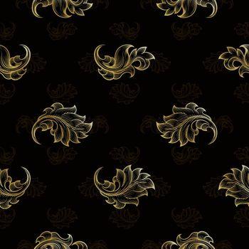 Gold vintage seamless floral pattern