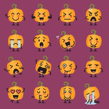 Halloween pumpkin emoji set