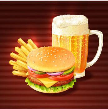 Hamburger And Beer Background
