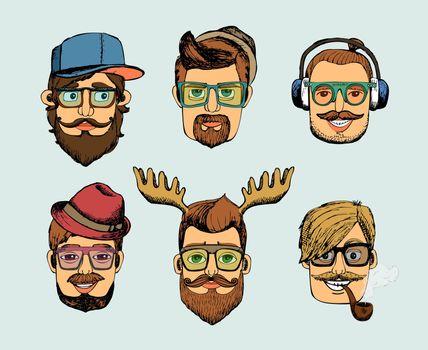 hipster man heads avatars