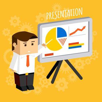 Businessman pointing at presentation board