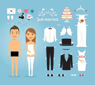 Just Married Paper Dolls with Set of Wedding Stuff