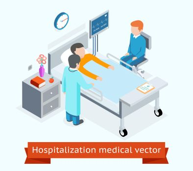 Hospitalization medical vector 3D isometric concept with patient on hospital bed