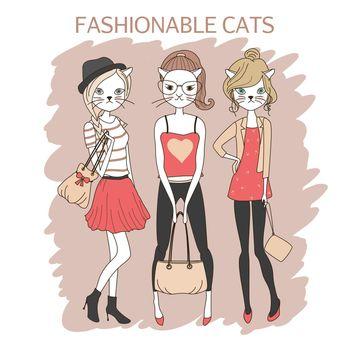 fashion girls cats