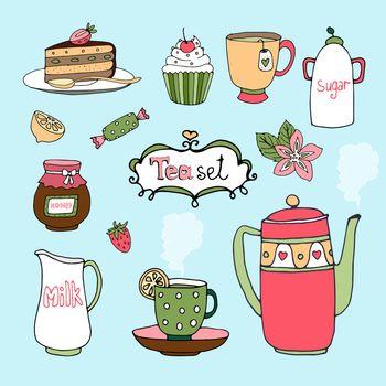 Hand-drawn vector tea set and cake icons