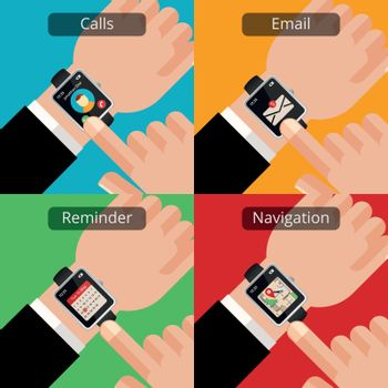 Hands with smartwatch and unread message