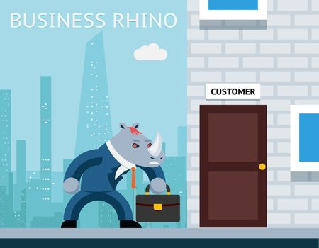 Business rhino. Angry businessman