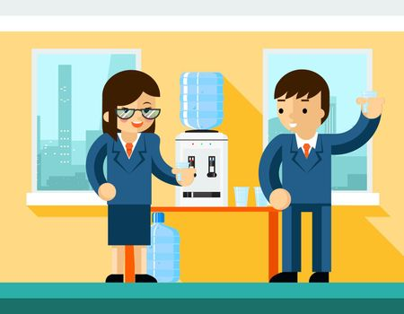 Business people near water cooler