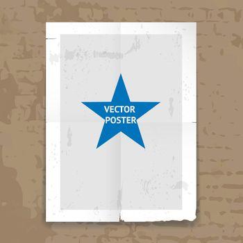 Grunge tattered folded poster template