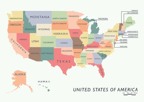 Colorful USA map with name of states