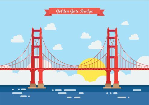 Flat style Golden Gate Bridge
