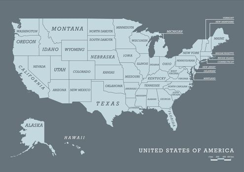 USA map with name of states