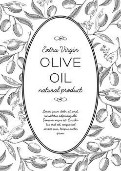 Green Olives Oval Wreath Postcard Doodle Composition