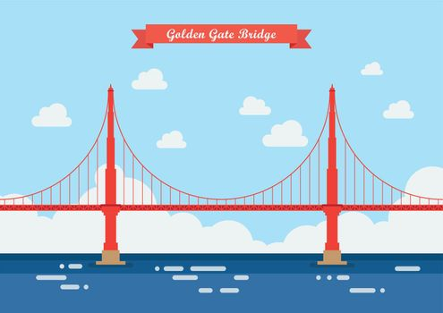 Golden Gate Bridge in flat style
