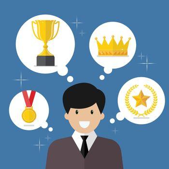 Businessman think about achievements