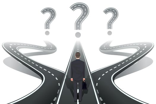 Businessman in front of question with roads
