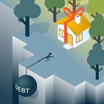 Businessman or consumer with debt weight is climbing out of the abyss