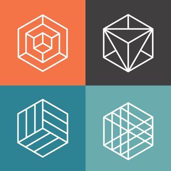 Hexagon vector logos in outline linear style