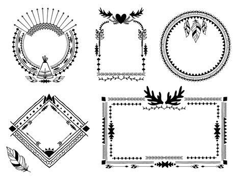 Hand drawn tribal frames
