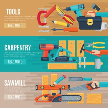 Horizontal Carpentry Banners With Tools Kit