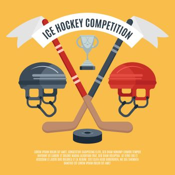 Ice hockey competition flat poster