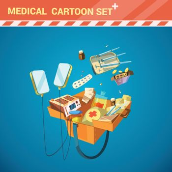 Hospital Equipment Cartoon Set