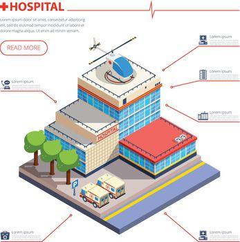 Hospital Building Isometric Illustration