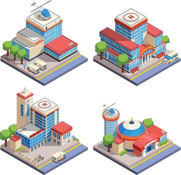 Hospital Isometric Icons Set