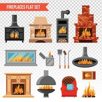 Fireplaces Transparent Set